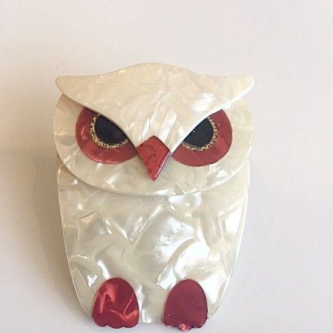 Lea Stein Paris- Buba Owl - Pearlescent Cream/Red