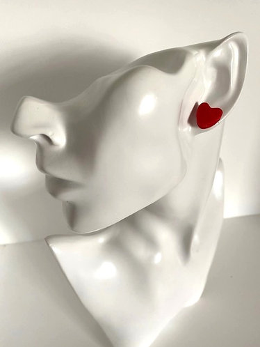 Chiara's Treasures- Red Polymer Clay Heart Studs