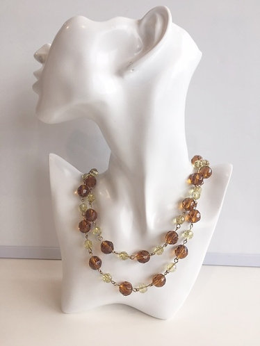 Melina Designs- Glass Bead Topaz Necklace