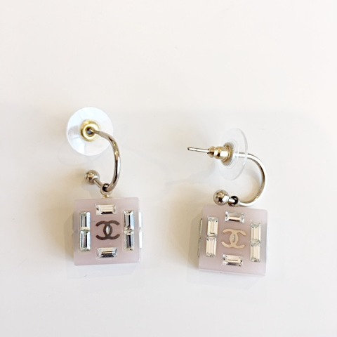 CHANEL Swarovski Crystals/Lilac Purple Drop Dangle Earrings
