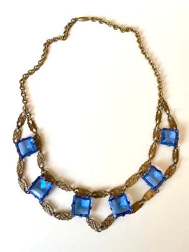 Vintage Art Deco Cobalt Blue Gilt Brass Necklace