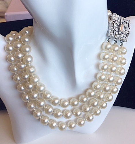 Kenneth Lane Three Strand Glass Pearl Necklace