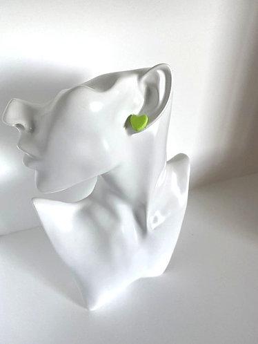 Chiara's Treasures- Lime Polymer Clay Heart Stud Earrings