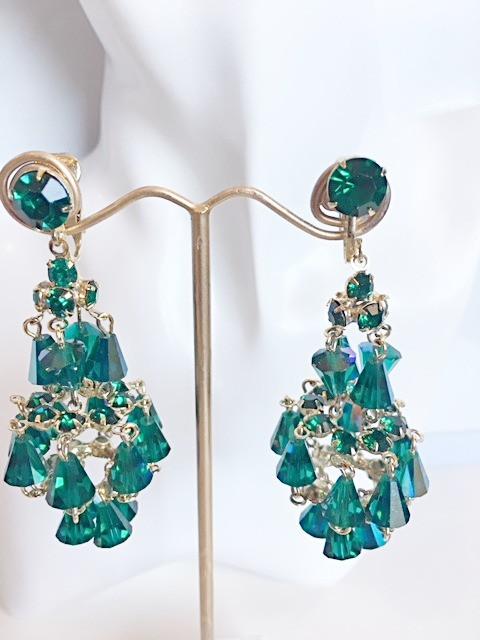 Green crystals rhinestones chandelier earrings unsigned hattie green crystals rhinestones chandelier earrings unsigned hattie carnegie mozeypictures Choice Image
