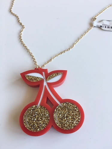Steven Shein Red Glitter Cherry Pendant on Gold Necklace