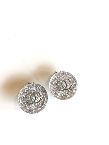Chanel Silver Plated CC Glitter Round Clip Earrings