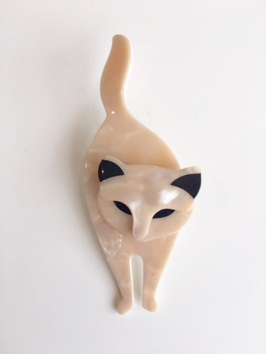 Lea Stein Paris-  Bacchus Standing Cat Brooch- Cream