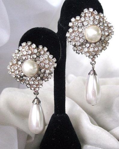 Designer/Runway Flower rhinestone earrings and Pearl Drop Earrings