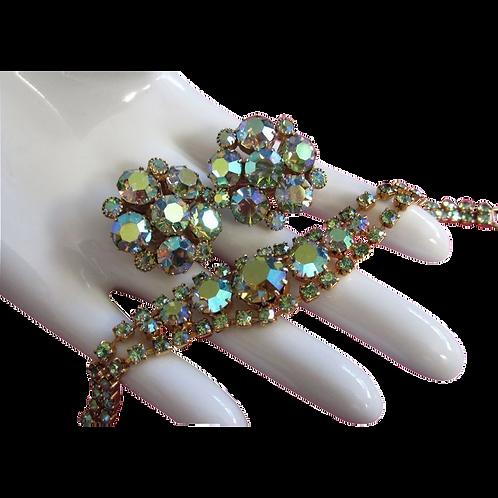 Vintage Weiss AB Rhinestone Bracelet & Earrings Set