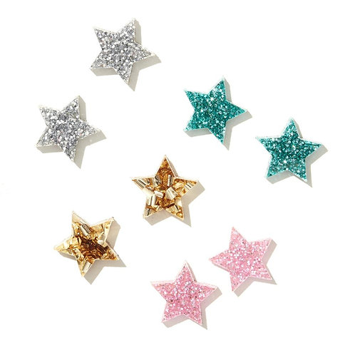 Emeldo Star Studs- Pink Fine Glitter