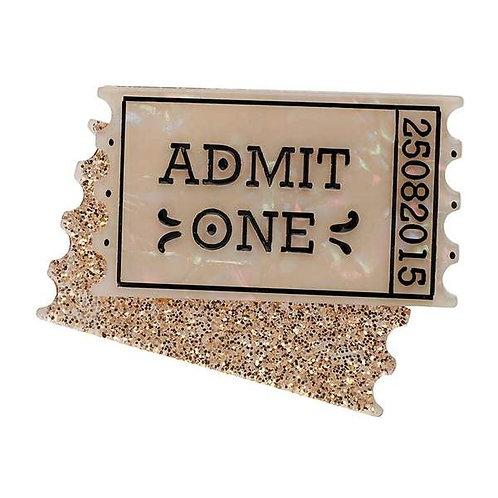 Erstwilder- Admit One Ticket Brooch