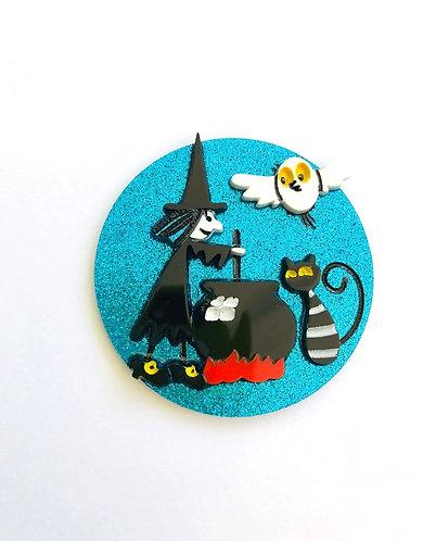 Coup De Colere- Blue Glitter Halloween brooch / Meg & Mog