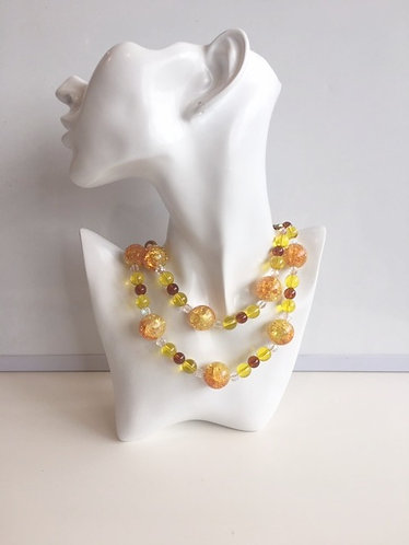 Melina  Designs- Orange Yellow Glass Bead Necklace