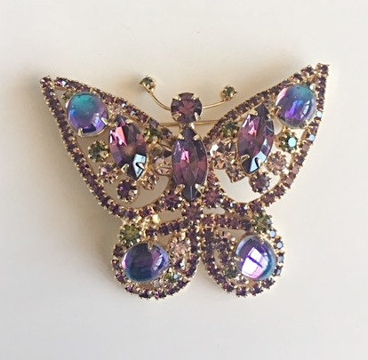 Rhinestone and cabochon glass purple Butterfly brooch