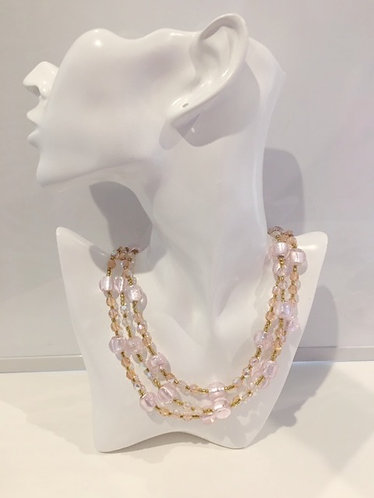 Melina Designs Pale Pink Foil Glass Bead Necklace