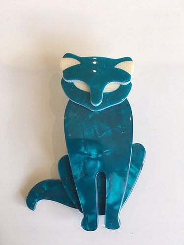 Lea Stein Bacchus Standing Cat Brooch- Pearly Teal