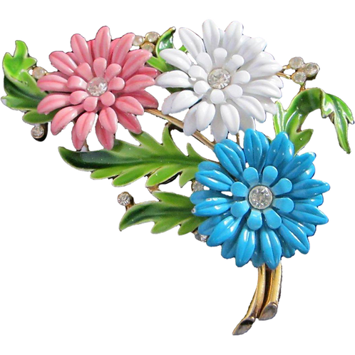 Crown Trifari Pastel Enamel Trio of Cornflowers Pin Brooch