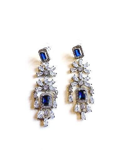 Midnight Blue & Clear Ice Cubic Zirconia Stones Chandelier Earrings