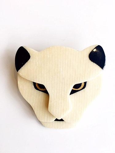 Lea Stein Cream Puma Face Head Brooch