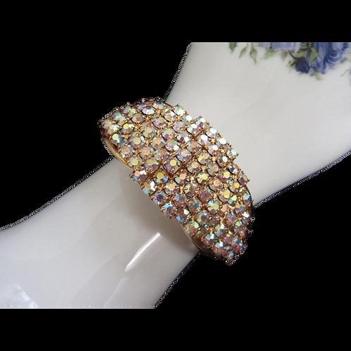Tiered Aurora Borealis Rhinestone Clamper Bracelet
