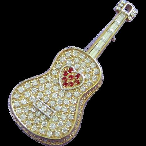 Vintage Rhinestone Guitar Figural Pin