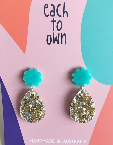 Each To Own- Poppy Drop Earrings - Mint and Lush Glitter