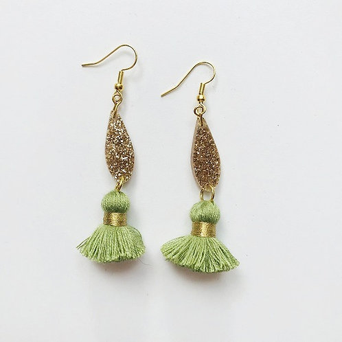 Emeldo- Bebe Bowie Earrings / Gold Glitter + Olive Green