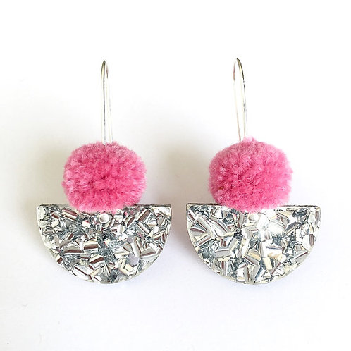 Each To Own- Dusty Pink Pom Pom & Silver Lush Glitter Earrings