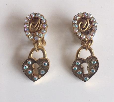 Vintage Christian Lacroix Gold & Crystal locket drop earrings