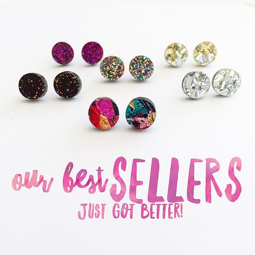 Each To Own- Mini Glitter Pop Studs-  Confetti