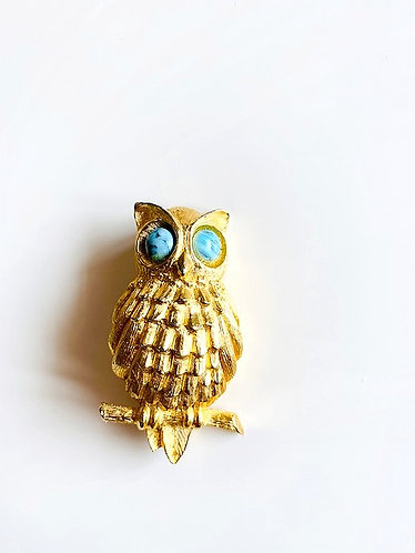 Vintage DeNicola Gold Tone Owl Figural Brooch