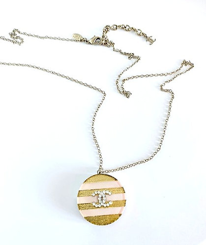 Chanel Cruise Spring Candy Pink CC Logo Gold Foil Necklace