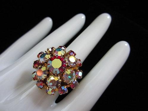 Brilliant Vintage AB Rhinestone Cluster Ring, Adjustable