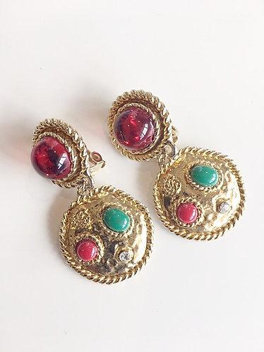 EDOUARD RAMBAUD French Designer Vintage Gripoix Rhinestone Earrings