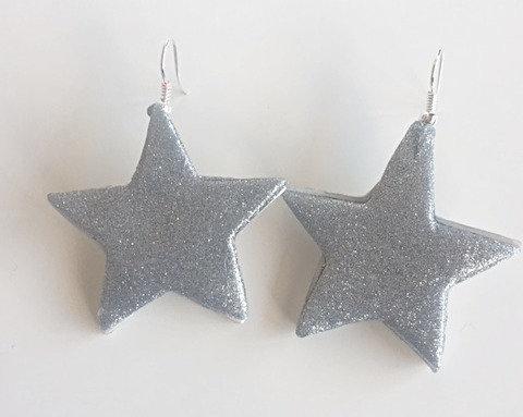 Chiara's Treasures- Silver sparkle clay drop earrings