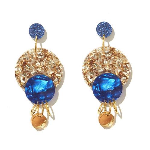 Emeldo- Miller Earrings Gold/Blue