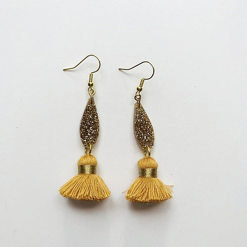 Emeldo- Bebe Bowie Earrings / Gold Glitter + Mustard