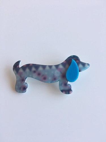 Lea Stein Paris Signed Sausage Dog Dachshund Brooch
