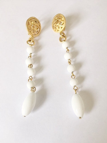Chanel Gold Plated White Swing Earrings