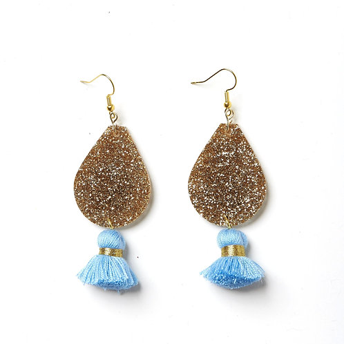 Emeldo Bowie Earrings- Blue and Gold