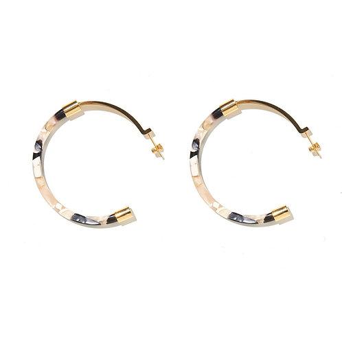 Emeldo Gia Luxe Hoop Earrings- Gold with Black Cream Shell