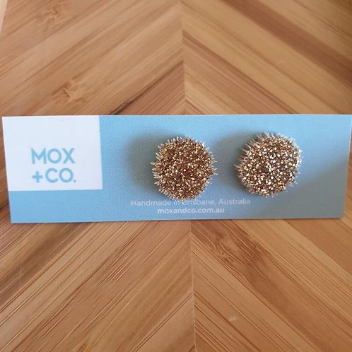 Mox and Co Sea Urchin Studs - Gold Glitter