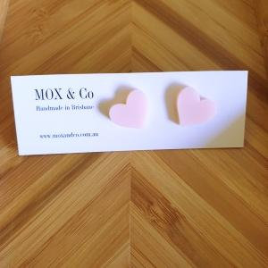 Mox and Co. Mini Heart Studs- Pale Pink