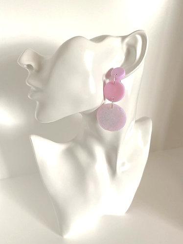Chiara's Treasures- Pink/Glitter Polymer Clay Dangle Earrings