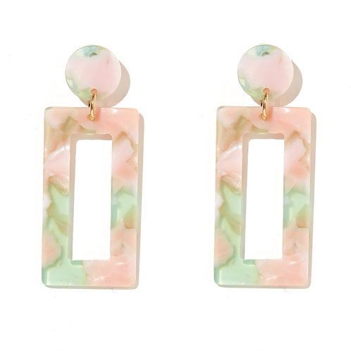 Emeldo Cooper Earrings // Pearl pink + Light Olive