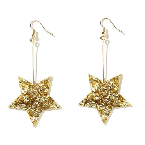 Emeldo- WS Star Earrings /Chunky Gold Glitter