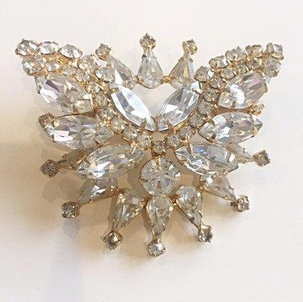HATTIE CARNEGIE gold tone clear rhinestones Butterfly Brooch