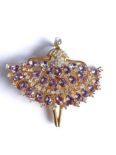 Vintage Lavender & Clear Rhinestones Ballerina  Brooch