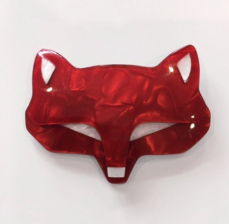 Lea Stein Goupil Fox Head Brooch - Red