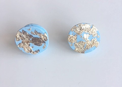 Chiara's Treasures- Pastel Blue/Gold Foil Clay Round Studs